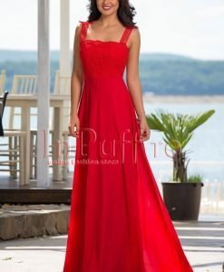 Rochie rosie lunga de seara din voal si dantela - ROCHII -