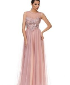 Rochie roz lunga de seara din tulle JLPFLOWER-P - Rochii de ocazie -
