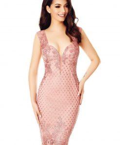 Rochie roz midi din dantela cu paiete - ROCHII -