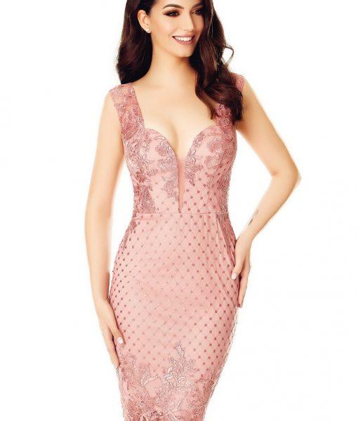 Rochie roz midi din dantela cu paiete – ROCHII –