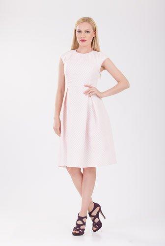 Rochie roze cu model buline D2113 – Rochii office –