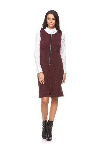 Rochie sarafan din tricot cu fermoar CI153 grena – Rochii office –
