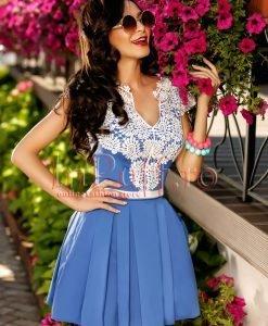 Rochie scurta de vara albastra cu broderie alba - ROCHII -