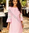 Rochie scurta de vara cu dungi roz si dantela pe maneci - ROCHII -