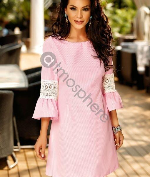 Rochie scurta de vara cu dungi roz si dantela pe maneci – ROCHII –