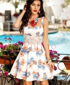 Rochie scurta de vara cu imprimeu floral si dantela in talie - ROCHII -