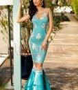Rochie turquoise tip sirena cu broderie florala - ROCHII -