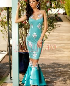 Rochie turquoise tip sirena cu broderie florala - ROCHII -