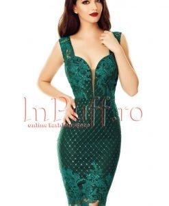Rochie verde inchis midi din broderie cu paiete - ROCHII -