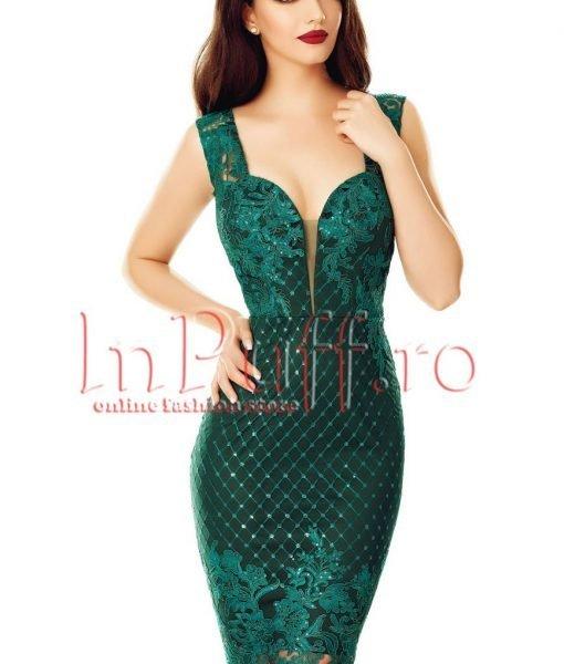 Rochie verde inchis midi din broderie cu paiete – ROCHII –