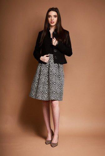Sacou din stofa cu guler tunica ROVANA-N negru – Sacouri –