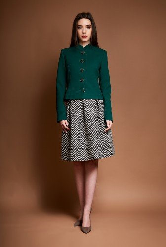 Sacou din stofa cu guler tunica ROVANA-V verde – Sacouri –