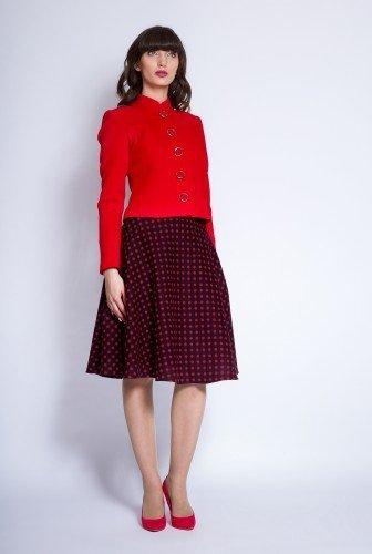 Sacou din stofa cu guler tunica ROVANA rosu – Sacouri –
