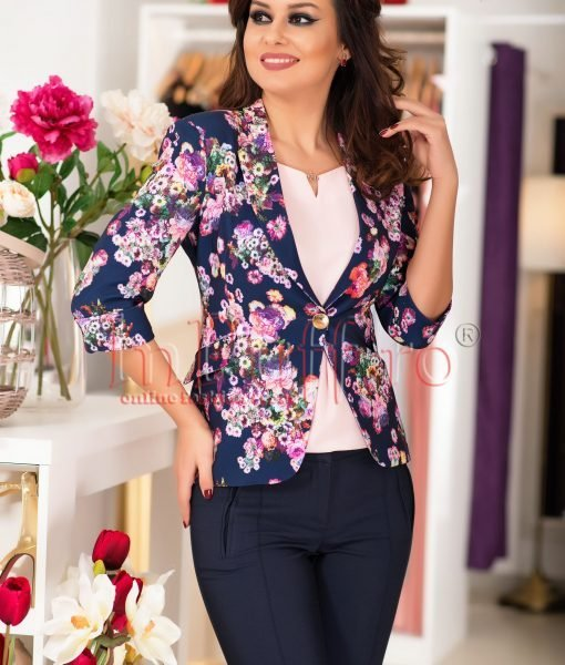 Sacou elegant bleumarin cu imprimeu floral – SACOURI –