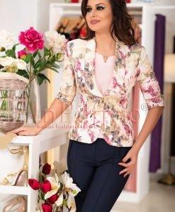 Sacou elegant cu imprimeu floral roz - SACOURI -