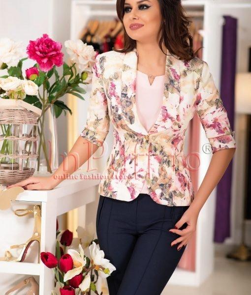 Sacou elegant cu imprimeu floral roz – SACOURI –