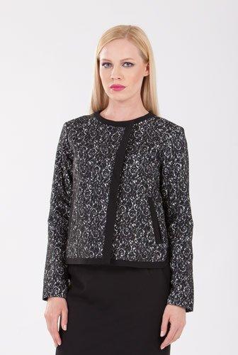 Sacou negru cu crem din stofa de lana D2104 – Sacouri –