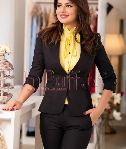 Sacou negru cu guler tunica – SACOURI –