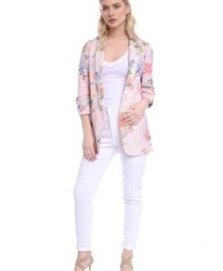 Sacou roz cu imprimeu floral AM-21704155 - Sacouri -