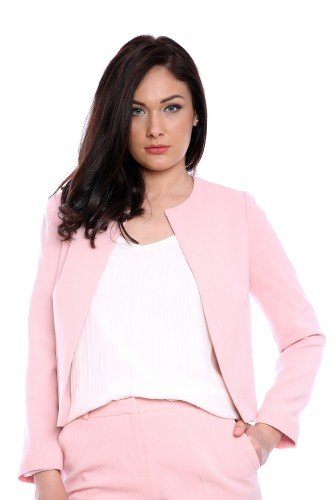 Sacou roz din stofa AM-60604 – Sacouri –