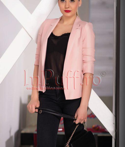 Sacou roz pal de dama cu maneca trei sferturi – SACOURI –