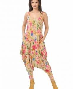 Salopeta bej cu imprimeu floral multicolor S005-BF - Salopete -