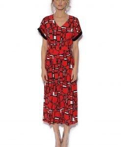 Salopeta culottes cu print geometric Rosu - Imbracaminte - Imbracaminte / Salopete