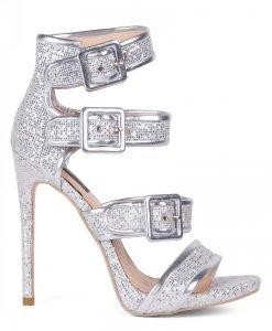 Sandale argintii cu toc Argintiu - Incaltaminte - Incaltaminte / Sandale