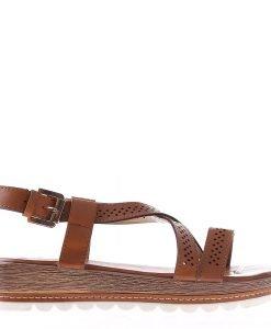 Sandale dama cu platforma Dympa camel - Sandale cu Platforma - Sandale cu Platforma