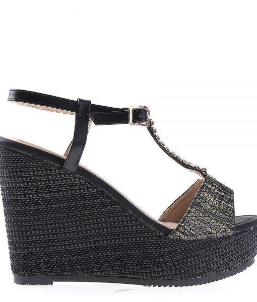 Sandale dama cu platforma Tanisha negre – Incaltaminte Dama – Sandale Dama