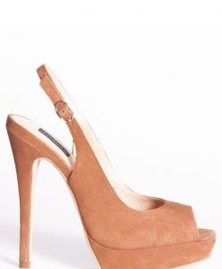 Sandale de seara cu varf decupat si toc inalt Camel - Incaltaminte - Incaltaminte / Sandale