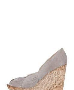 Sandale wedges grej din piele intoarsa 301 - Pantofi -