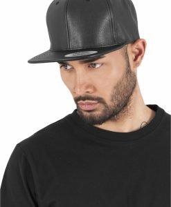 Sepci rap snapback din piele ecologica negru-negru Flexfit - Sepci snapback - Flexfit>Sepci snapback
