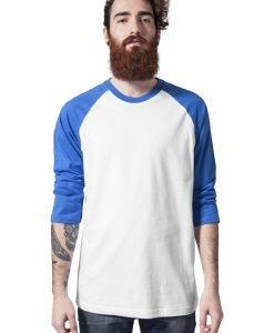 Tricou contrast cu maneci trei sferturi alb-albastru Urban Classics - Tricouri urban - Urban Classics>Barbati>Tricouri urban