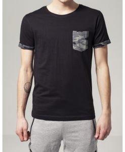 Tricou cu buzunar Camo contrast inchis-camuflaj Urban Classics - Tricouri urban - Urban Classics>Barbati>Tricouri urban