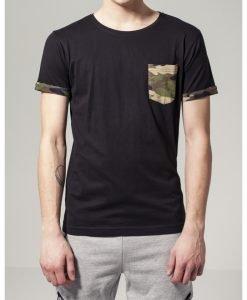 Tricou cu buzunar Camo contrast wood-camuflaj Urban Classics - Tricouri urban - Urban Classics>Barbati>Tricouri urban