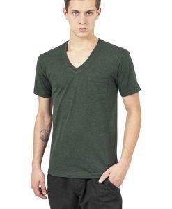 Tricou cu buzunar Melange decolteu in V verde padure-negru Urban Classics - Tricouri urban - Urban Classics>Barbati>Tricouri urban