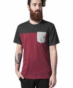 Tricou cu buzunar trei culori rosu burgundy-gri carbune Urban Classics - Tricouri urban - Urban Classics>Barbati>Tricouri urban