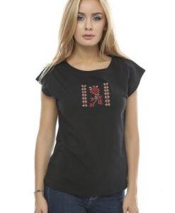 Tricou din bumbac cu broderie B85 negru - Tricouri -