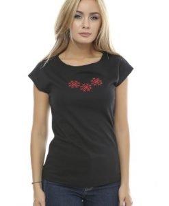 Tricou din bumbac cu broderie B86 negru - Tricouri -