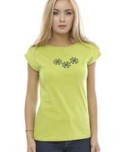 Tricou din bumbac cu broderie B87 verde - Tricouri -