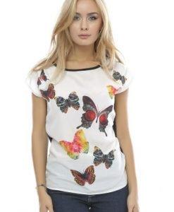 Tricou din vascoza cu imprimeu fluturi B89 alb - Tricouri -