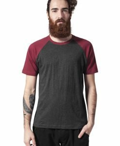 Tricouri casual in doua culori pentru barbati gri carbune-rosu burgundy Urban Classics - Barbati - Urban Classics>Colectie noua>Barbati