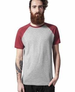 Tricouri casual in doua culori pentru barbati gri-rubin Urban Classics - Barbati - Urban Classics>Colectie noua>Barbati