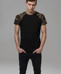 Tricouri casual in doua culori pentru barbati negru-camuflaj Urban Classics - Barbati - Urban Classics>Colectie noua>Barbati