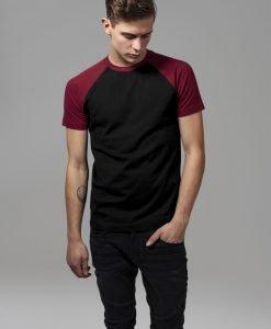 Tricouri casual in doua culori pentru barbati negru-rosu burgundy Urban Classics - Barbati - Urban Classics>Colectie noua>Barbati