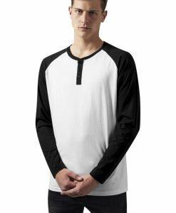 Tricouri cu maneca lunga si nasturi la baza gatului LS alb-negru Urban Classics - Bluze cu maneca lunga - Urban Classics>Barbati>Bluze cu maneca lunga