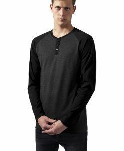 Tricouri cu maneca lunga si nasturi la baza gatului LS gri carbune-negru Urban Classics - Bluze cu maneca lunga - Urban Classics>Barbati>Bluze cu maneca lunga