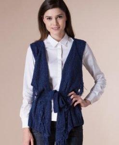 Vesta bleumarin cu franjuri din tricot 14777 - Veste -