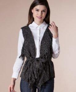 Vesta gri cu franjuri din tricot 14777 - Veste -